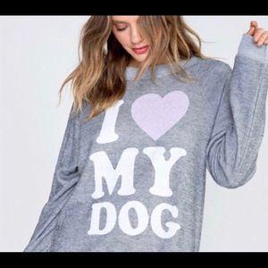 Wildfox I Love 💗 My Dog Oversized Sweatshirt XS